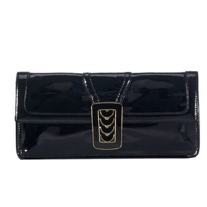Cole Haan Aerin patent leather clutch in black new